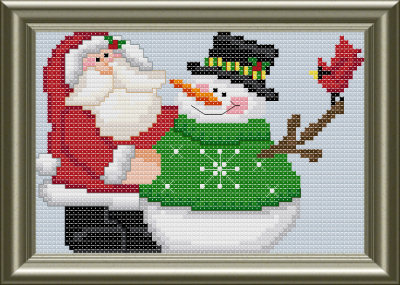 Christmas Santa snowman cross stitch pattern by Jennifer Creasey