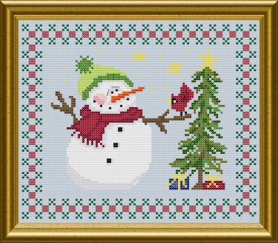 Christmas snowman cross stitch pattern by Jennifer Creasey