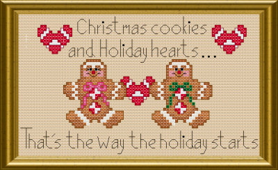 Gingerbread Christmas cookies cross stitch pattern by Jennifer Creasey