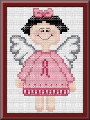 Pink ribbon angel cross stitch pattern by Jennifer Creasey