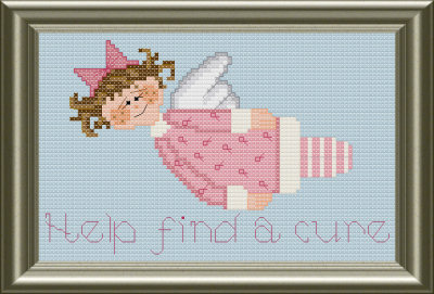 Help find a cure pink ribbon breast cancer awareness angel cross stitch pattern by Jennifer Creasey