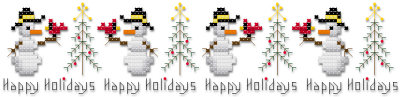 Happy holidays Christmas snowmen cross stitch pattern by Jennifer Creasey