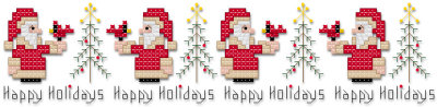 Happy holidays Christmas Santa cross stitch pattern by Jennifer Creasey