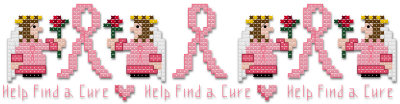 Help find a cure pink ribbon angel border cross stitch pattern by Jennifer Creasey