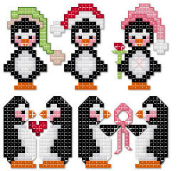 Christmas and Pink Ribbon Penguins cross stitch pattern by Jennifer Creasey