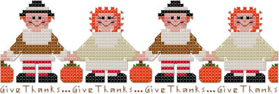 Thanksgiving Autumn Give Thanks Annie border cross stitch pattern by Jennifer Creasey