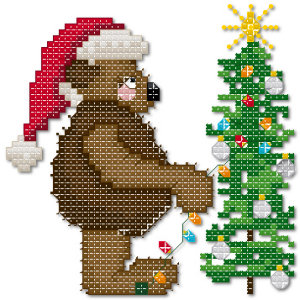 Christmas bear cross stitch pattern by Jennifer Creasey