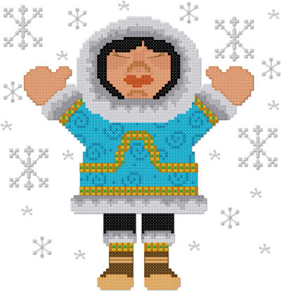 Let it snow Eskimo cross stitch pattern by Jennifer Creasey