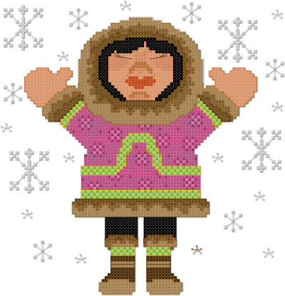 Let is snow Eskimo cross stitch pattern by Jennifer Creasey