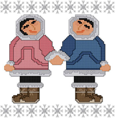 Eskimo couple cross stitch pattern by Jennifer Creasey
