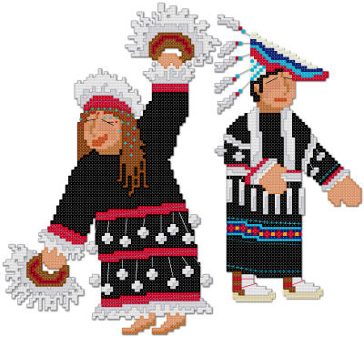 Aleut Alutiiq Dancers cross stitch pattern by Jennifer Creasey