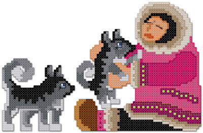 Eskimo with husky puppy dogs cross stitch pattern by Jennifer Creasey