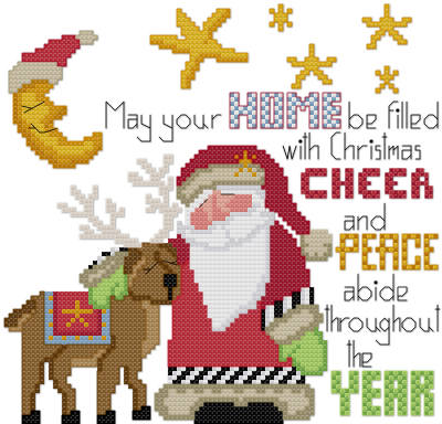 Christmas Santa riendeer cross stitch pattern by Jennifer Creasey
