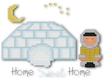 Home sweet home Eskimo igloo cross stitch pattern by Jennifer Creasey