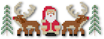 Christmas Santa riendeer border cross stitch pattern by Jennifer Creasey
