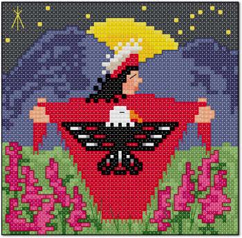Indian tribal eagle shawl cross stitch pattern by Jennifer Creasey