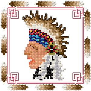 Indian warbonnet cross stitch pattern by Jennifer Creasey